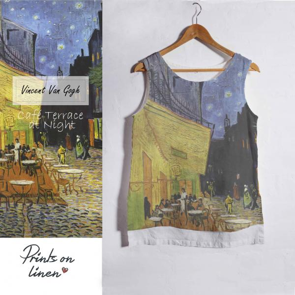 Linen tank top / Cafe terrace at Night