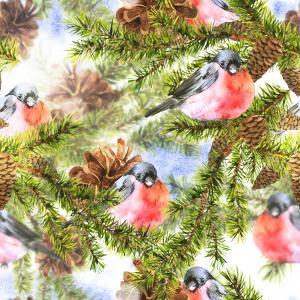 Christmas Watercolor pattern with Sprig of Fir Trees and bullfinch