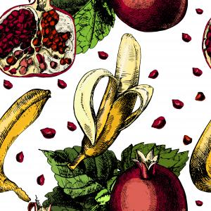 Beautiful colorful pattern with leaves and juicy tropical fruit banana and pomegranate on a white background.