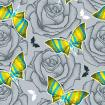 Seamless pattern with black dotted rose and butterflies in bright psychedelic colors on the gray background.