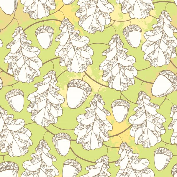Autumn background with oak leaf and acorn for September design.