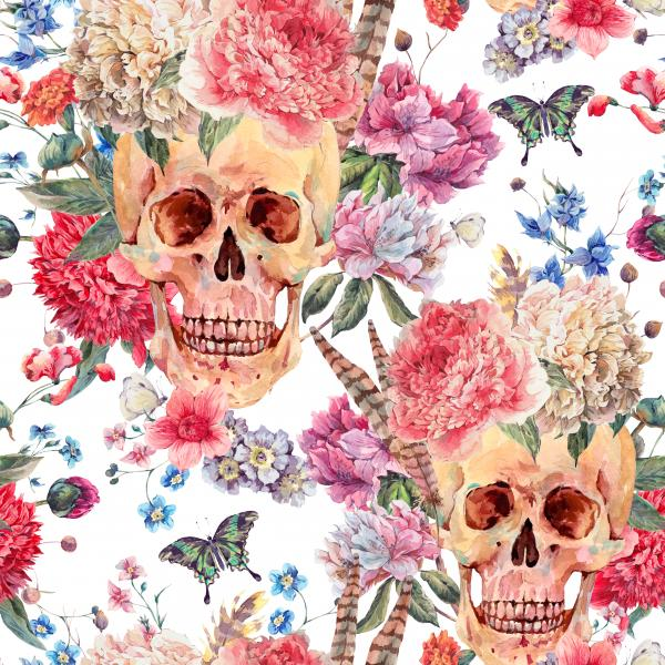 Pattern with skull and pink peony on white