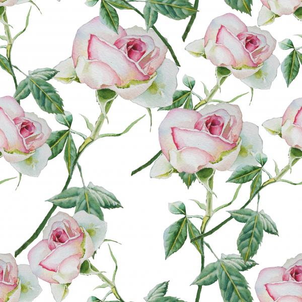 Seamless pattern with watercolor roses.