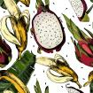 Beautiful colorful pattern with leaves and juicy tropical fruit banana and Pitahaya on a white background.