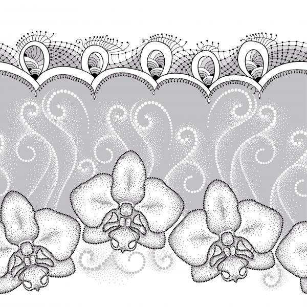 Seamless pattern with dotted moth Orchid or Phalaenopsis, white swirls and decorative lace on the gray background. Floral background in dotwork style.
