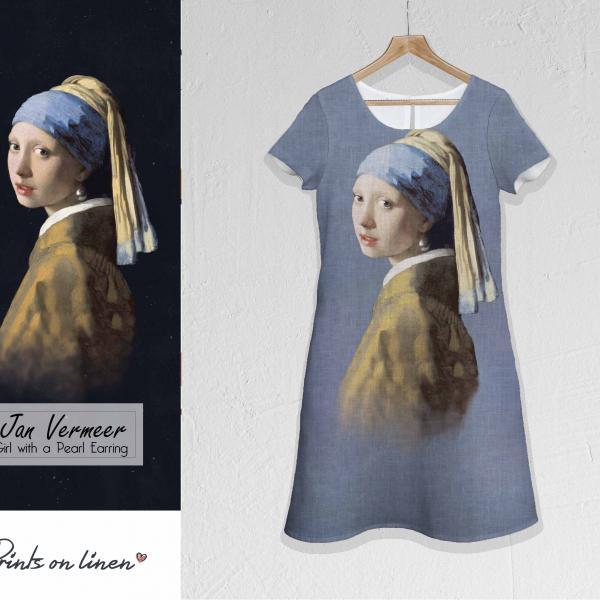 Linen dress / Girl with a Pearl Earring (Blue)