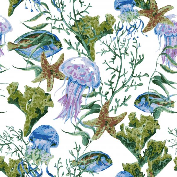 Watercolor Pattern with blue fish, jellyfish and corals