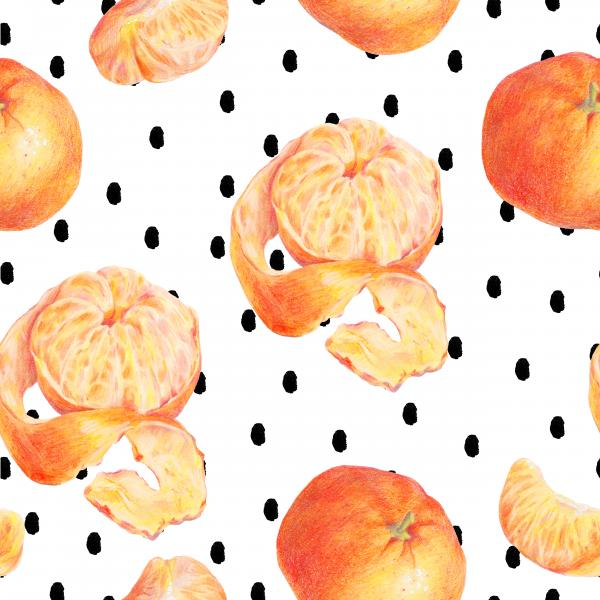 tangerines pattern on polka dot background
