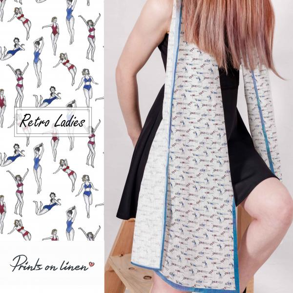 Linen scarf with retro ladies pattern