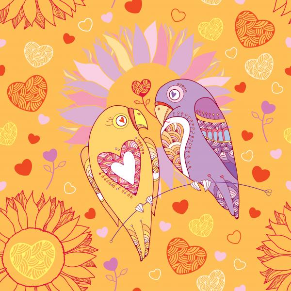 Seamless pattern with cute parrots in love and flowers.