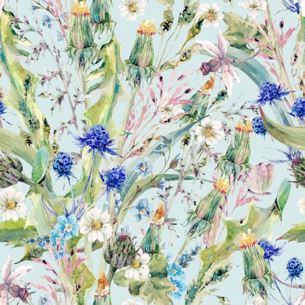 Summer watercolor floral pattern with wild flowers