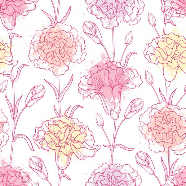 Seamless pattern with  Carnation or Clove flowers, bud and leaves in pastel and pink.