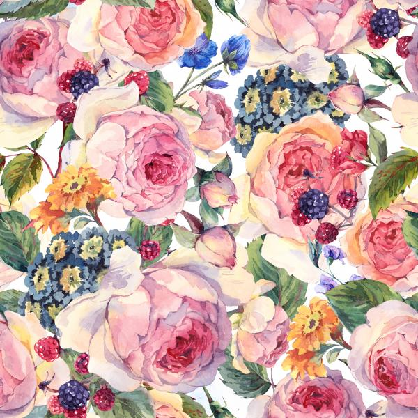 Classical vintage floral pattern on white
