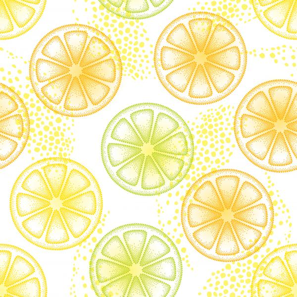 Seamless pattern with dotted orange and light green lemon slice on the white background. Fruits elements in dotwork style.