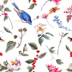Spring Vintage pattern with Gentle Pink Flowers, Beetles and Birds