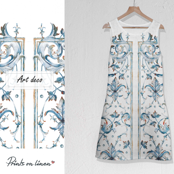 Linen dress / Art deco