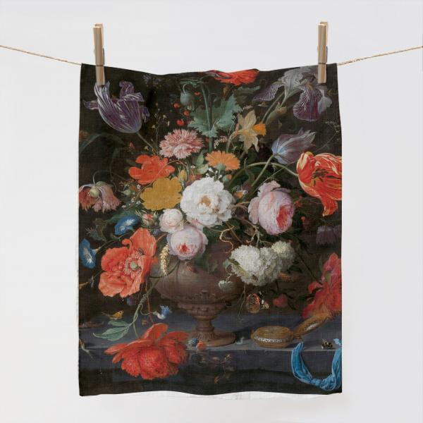 Kitchen Towel / Still Life with Flowers and a Watch