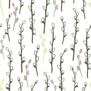 Seamless pattern with blossoming Willow twigs in pastel colored on the white background.