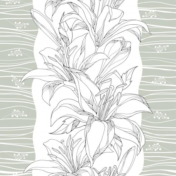 Elegance floral background with lilies in contour style for summer design.