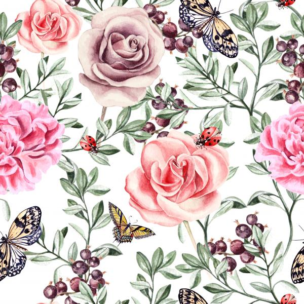 Pattern with watercolor realistic rose, peonies, butterflies and plants. Illustration.