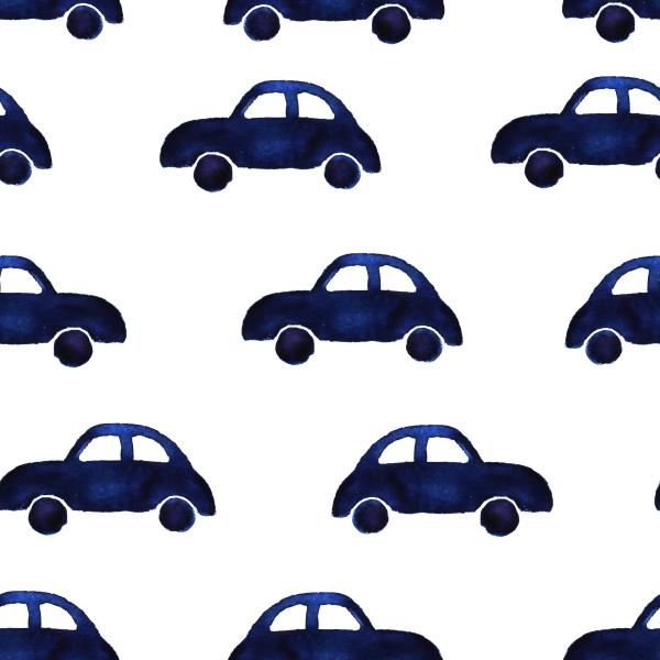 cars pattern, hand drawn watercolor