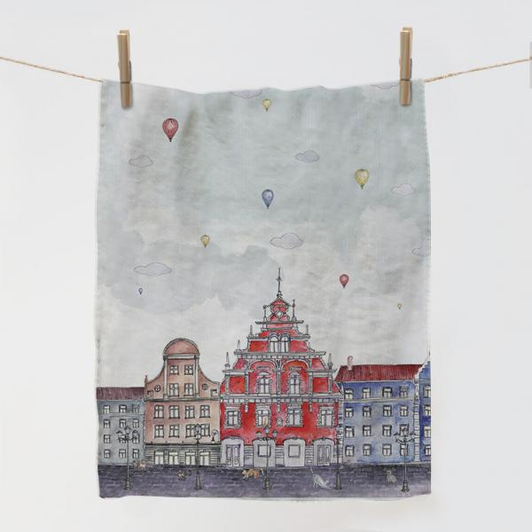 "Kitchen towel ""City and balloons"""