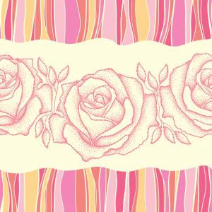 Seamless pattern with dotted rose in pink and colorful stripes.