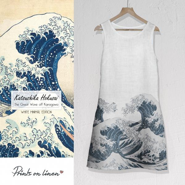 Linen dress / The Great Wave (white edition)
