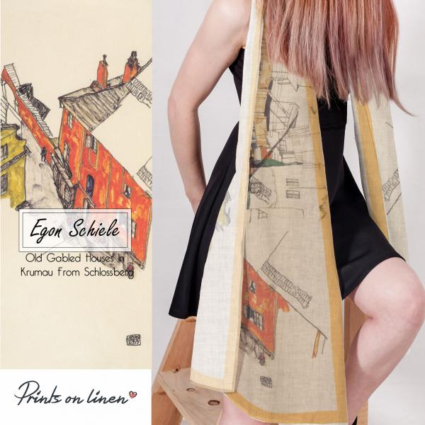 Linen scarf / Old Gabled Houses