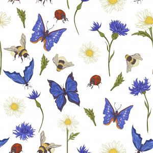 Summer Vintage Pattern with Blooming Chamomile Daisies Ladybird Cornflowers, Bumblebee Bee and Blue Butterflies