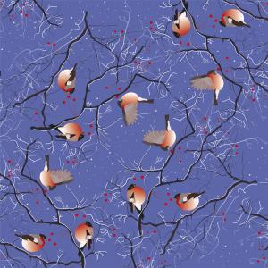 Bullfinches on rowan tree branches with berries in winter snow on evening blue background.