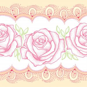 Seamless pattern with dotted rose with leaves and decorative lace in pink.