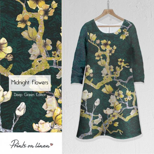 Linen dress / Midnight Flowers (green)