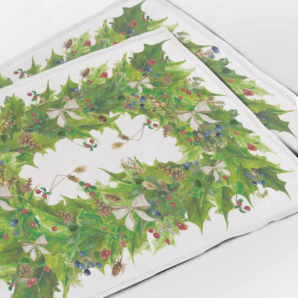 Placemats set / Gold Christmas