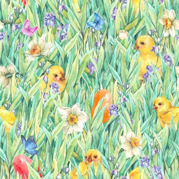 Gentle vintage Happy Easter meadow watercolor pattern with green grass, easter eggs, chickens, flowers and butterflies