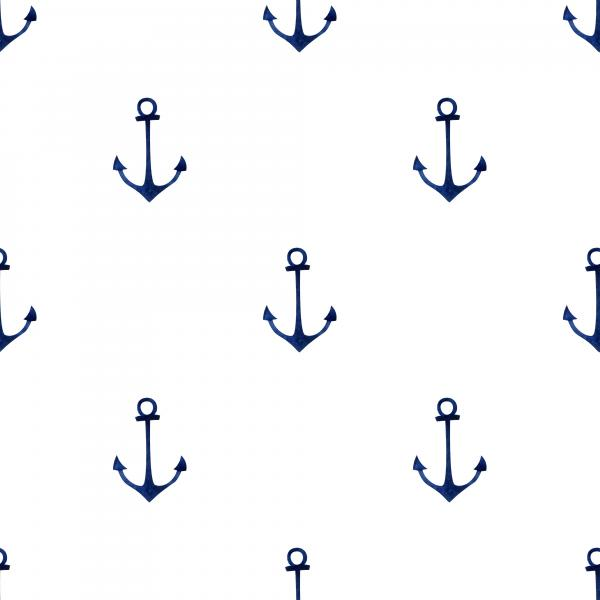 Watercolor hand drawn pattern with indigo small anchors