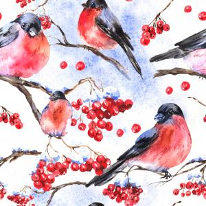 Winter watercolor pattern with bullfinches and rowan branch