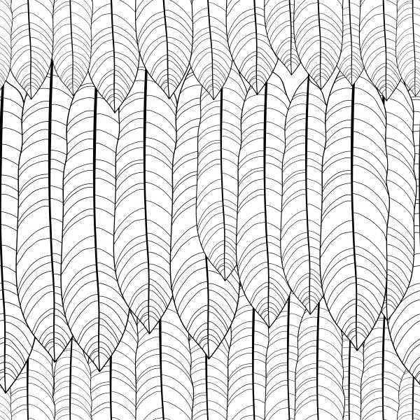 Seamless pattern with outline tropical leaves.