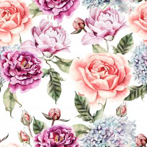 Watercolor pattern with flowers, hydrangea, peonies, buds and petals.