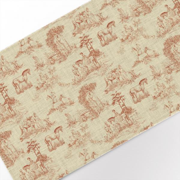 Table runner / Toile de Jouy, Horses