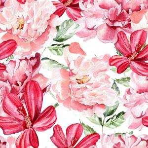 Pattern with peony flowers and flowers of Chinese rose.