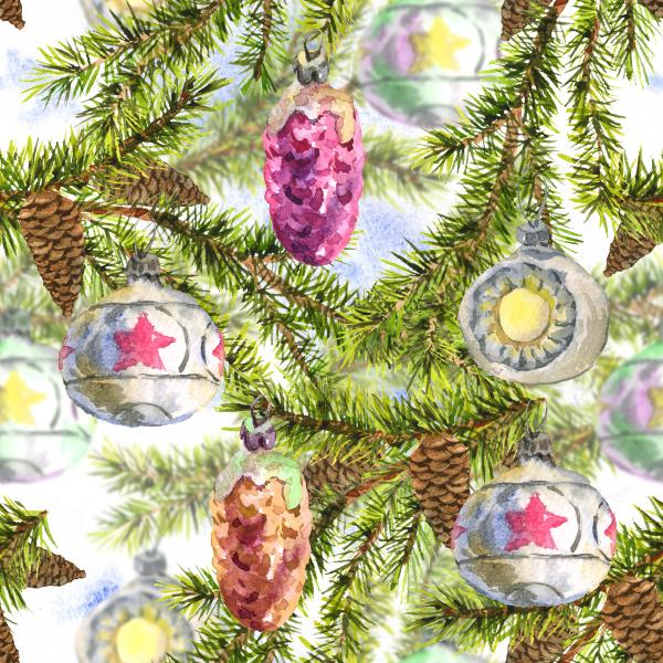 Christmas Watercolor pattern with Sprig of Fir Trees and Vintage Christmas balls
