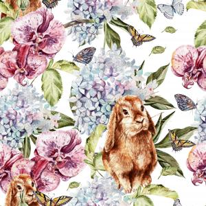watercolor pattern with beautiful flowers, butterflies and rabbits.