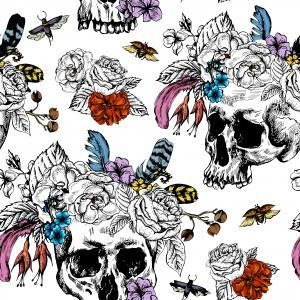 Watercolor pattern with skulls, flowers, bugs and feathers on white