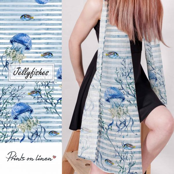 Linen scarf with jellyfishes pattern