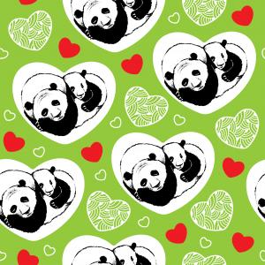 Seamless pattern with cute sleeping panda couple in love.
