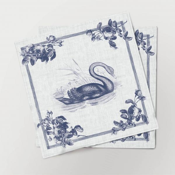 Napkins set /  Toile de Jouy Birds / Swan