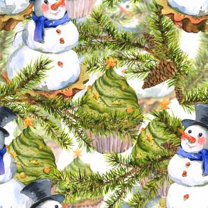 Christmas Watercolor pattern with Snowman Cupcakes, Fir and Pine cones