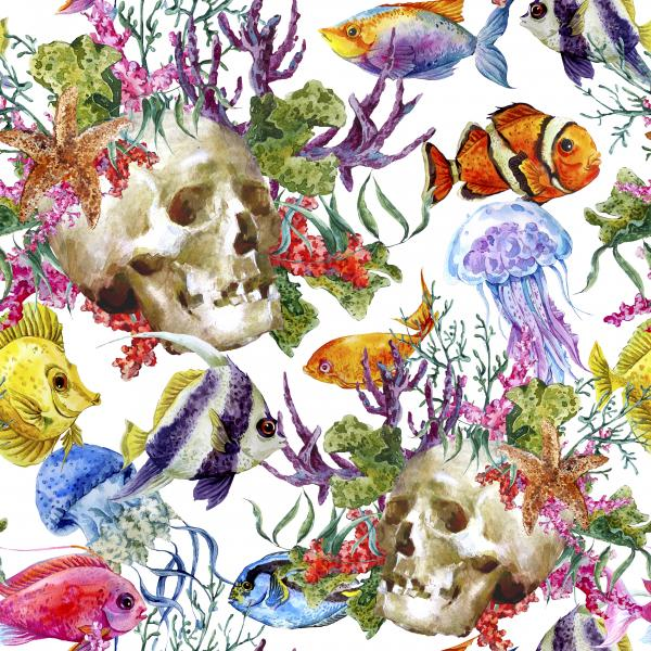 Watercolor Pattern with skull and fish on white