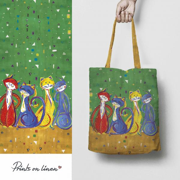 Tote bag / Happy cats (green)